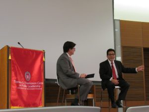 Dean Strang and Alberto Gonzales (pointing)