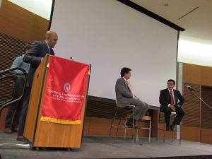 Dean Strang and Alberto Gonzales taking questions from students