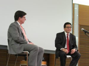Dean Strang and Alberto Gonzales listening