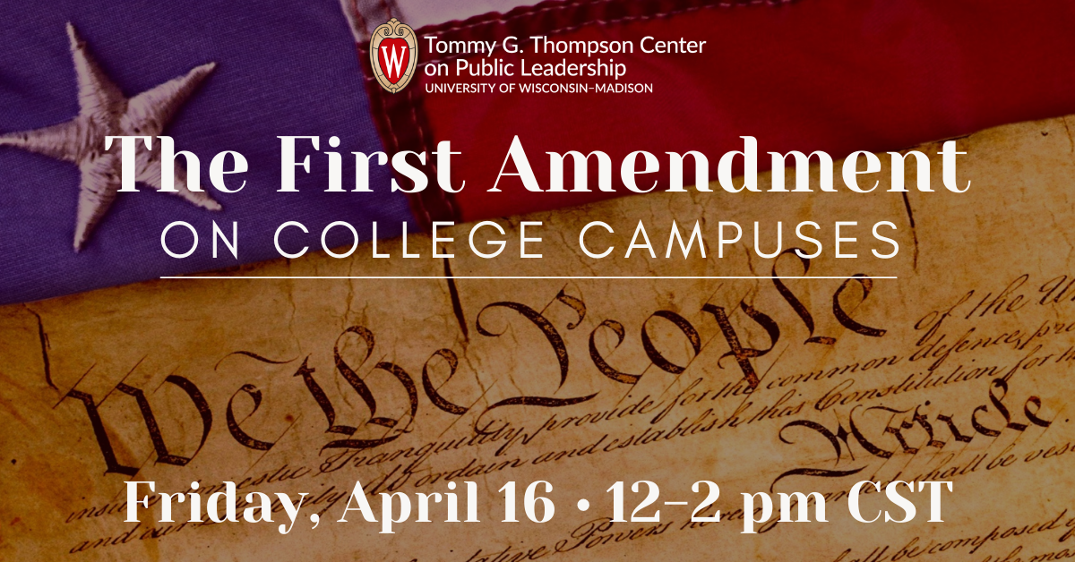 promotional image with title and date of First Amendment on College Campuses event