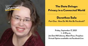 Dorothea Salo Headshot and Event Details Header