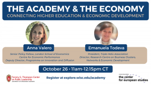 Speaker headshots & event details for academy & economy event